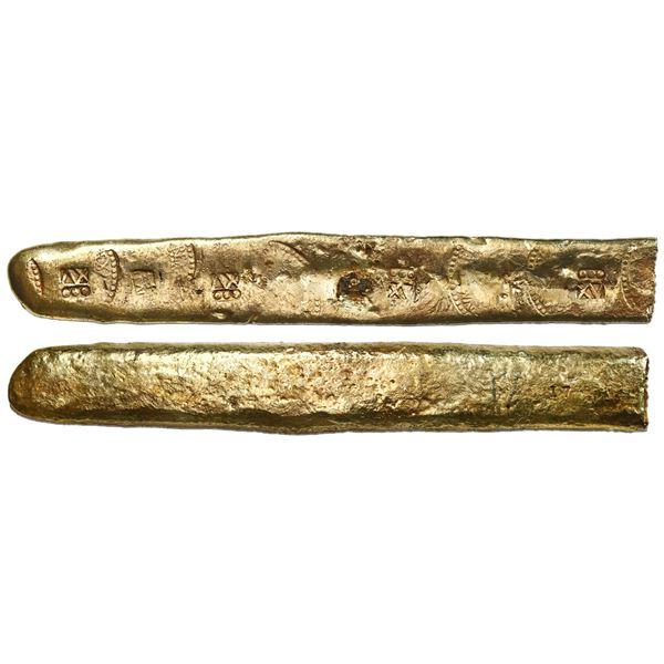 Gold bar #17, 878 grams, 15.75 karat, Class 2, marked with tax stamps, karat markings and assayer or