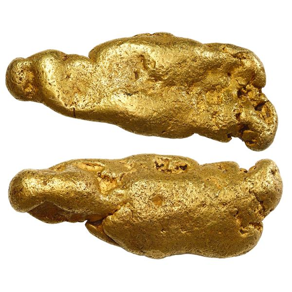 """Natural gold nugget from the Sacramento River in California, 513 grams, 95% fine, the """"Golden Seal."""""""