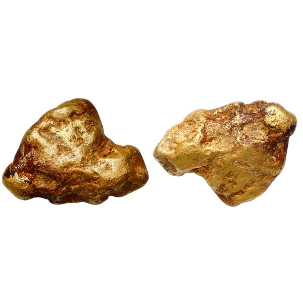 """Natural gold nugget from the Yuba River in California 213.7 grams, 88% fine, the """"Golden Shark Toot"""