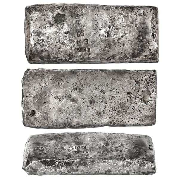 """Silver """"tumbaga"""" bar #M-33, 2318 grams, marked with fineness IVCC L (1250/2400), code RC, owner/assa"""