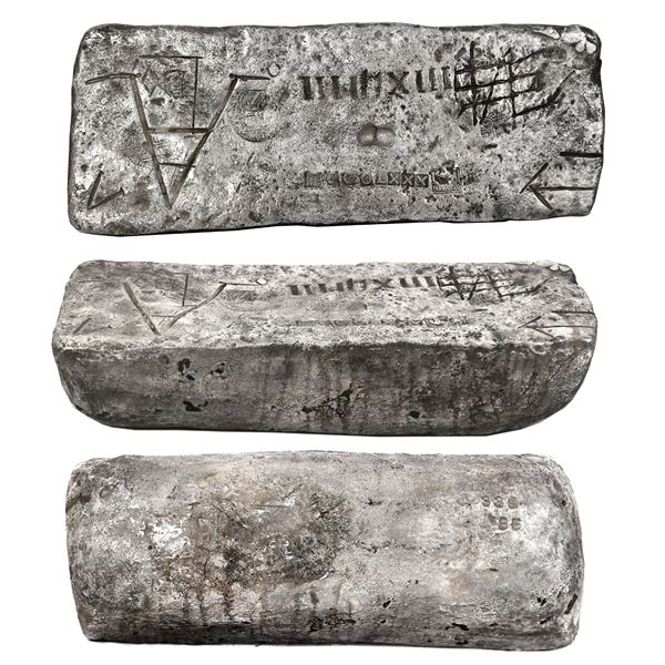 Large silver bar #339 made in Potosi, 83 lb 0.48 oz troy, 2380/2400 fine (99.17%), Class Factor 1.0,