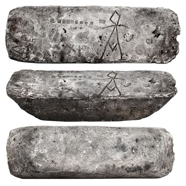 Large silver bar #491 made in Oruro, 81 lb 6.56 oz troy, 2380/2400 fine (99.17%), Class Factor 0.9,