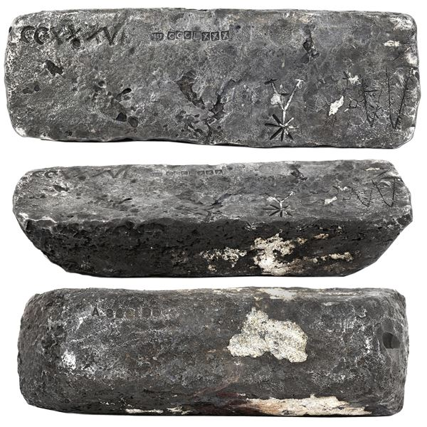 Large silver bar #332 made in Oruro, 74 lb 4.16 oz troy, 2380/2400 fine (99.17%), Class Factor 0.8,