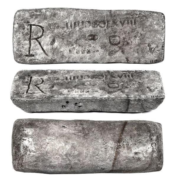 Medium silver bar #603 made in Potosi, 57 lb 4.00 oz troy, 2300/2400 fine (95.83%), Class Factor 1.0