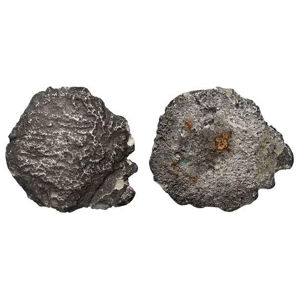 "Small silver ""splash"" ingot (probably contraband, no markings), 88 grams, ex-Concepcion (1641)."