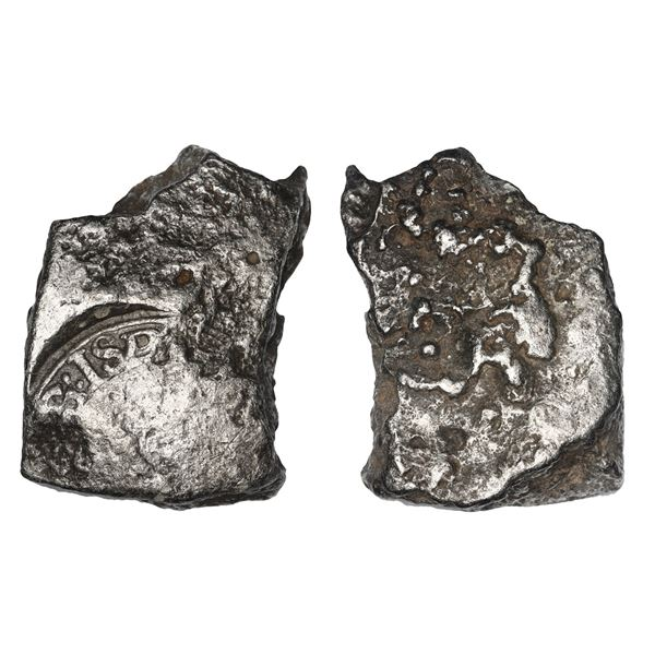 """Large """"plata corriente"""" piece cut from thick silver """"splash ingot"""" with clear tax stamp, 81 grams."""