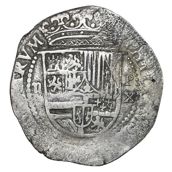 Lima, Peru, cob 2 reales, Philip II, assayer X, very rare, Grade 2.