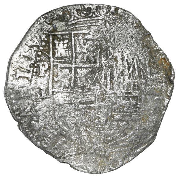 Potosi, Bolivia, cob 8 reales, Philip II, assayer B (4th period), Grade 1.