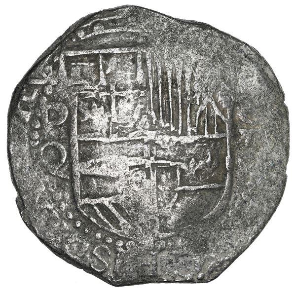Potosi, Bolivia, cob 8 reales, Philip III, assayer Q, Grade 1 or 2 (no Grade on certificate).