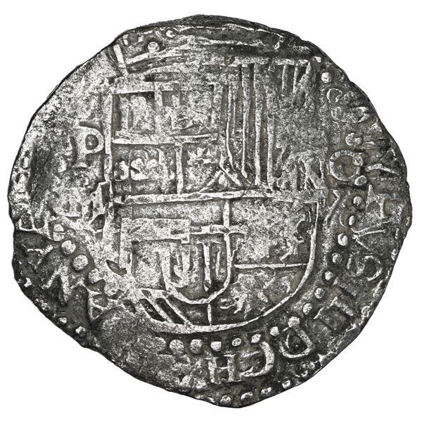 Potosi, Bolivia, cob 8 reales, Philip III, assayer M/Q, quadrants of cross transposed, Grade 1.