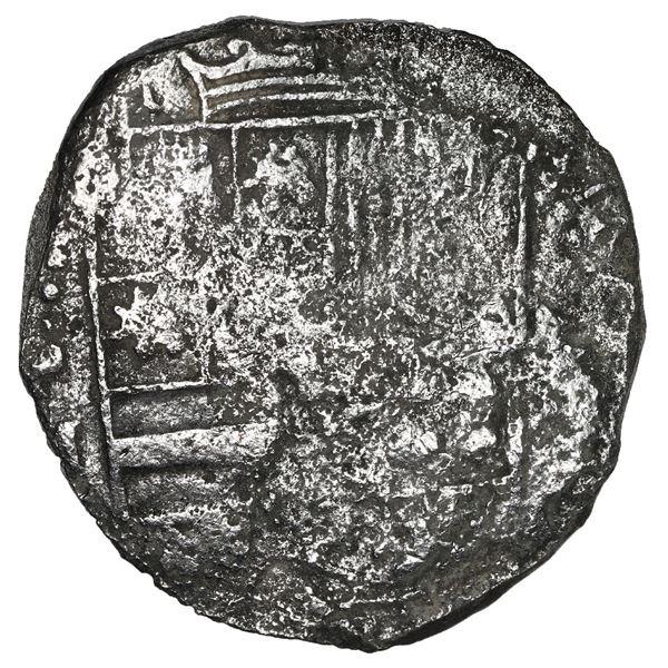 Potosi, Bolivia, cob 8 reales, Philip III, assayer M, Grade 3 (estimated), no Grade on certificate.