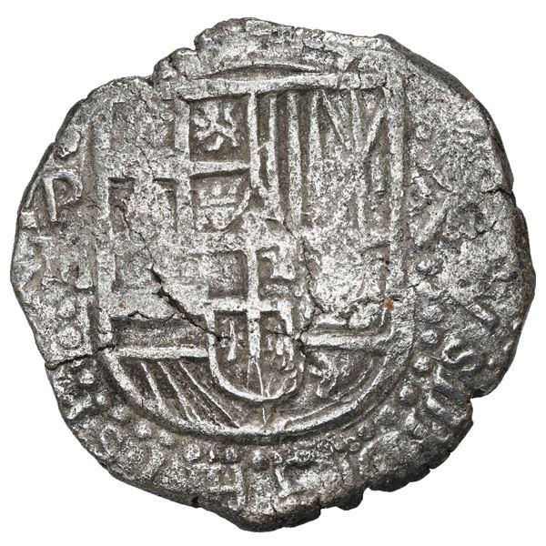 Potosi, Bolivia, cob 8 reales, 1617 M, Grade 1.