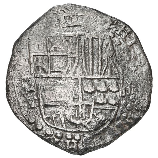 Potosi, Bolivia, cob 8 reales, 1618 T, Grade 1.