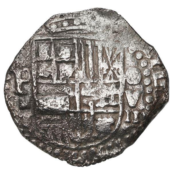 Potosi, Bolivia, cob 8 reales, 1618 T, denomination as O-V-III, quadrants of cross transposed, Grade