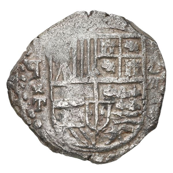 "Potosi, Bolivia, cob 8 reales, 1621 T, date as ""1612"" (very rare), upper half of shield and quadrant"