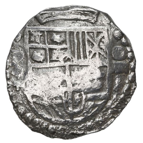 Potosi, Bolivia, cob 8 reales, Philip III, assayer T, Grade 1, with hand-signed certificate from 197