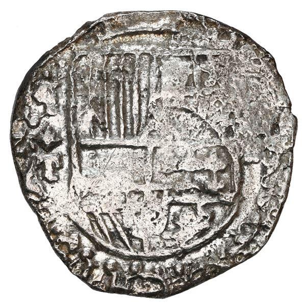Potosi, Bolivia, cob 8 reales, Philip III, assayer T, upper half of shield and quadrants of cross tr