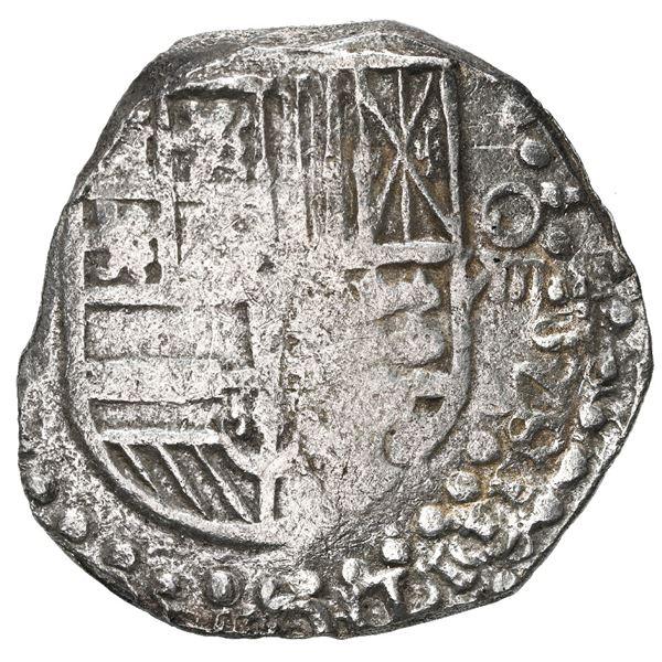 Potosi, Bolivia, cob 8 reales, Philip III, assayer not visible, quadrants of cross transposed, Grade
