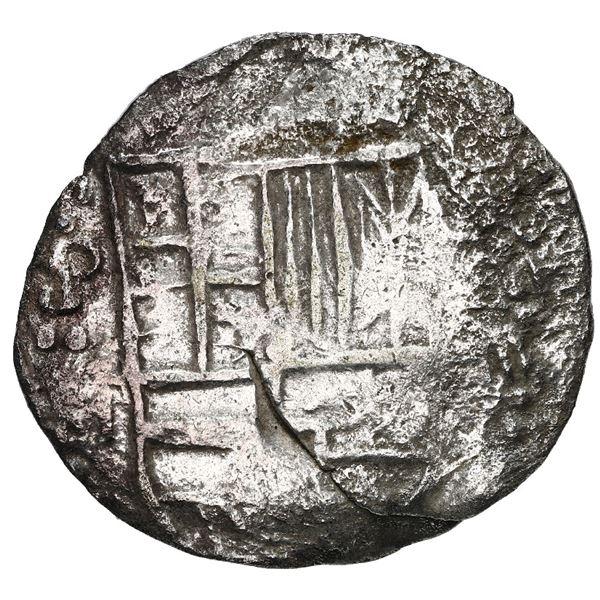 Potosi, Bolivia, cob 4 reales, Philip III, assayer M, Grade 2.