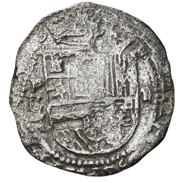 Potosi, Bolivia, cob 2 reales, Philip II assayer L/L/M, rare, Grade 1.