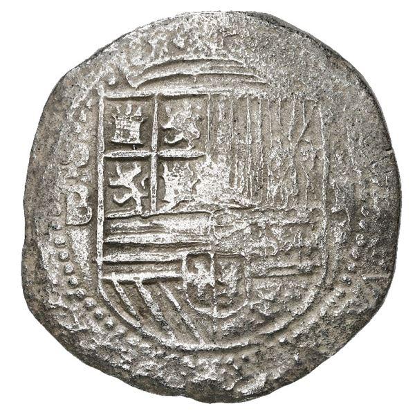 Potosi, Bolivia, cob 2 reales, Philip II, assayer B (2nd period), Grade 1.