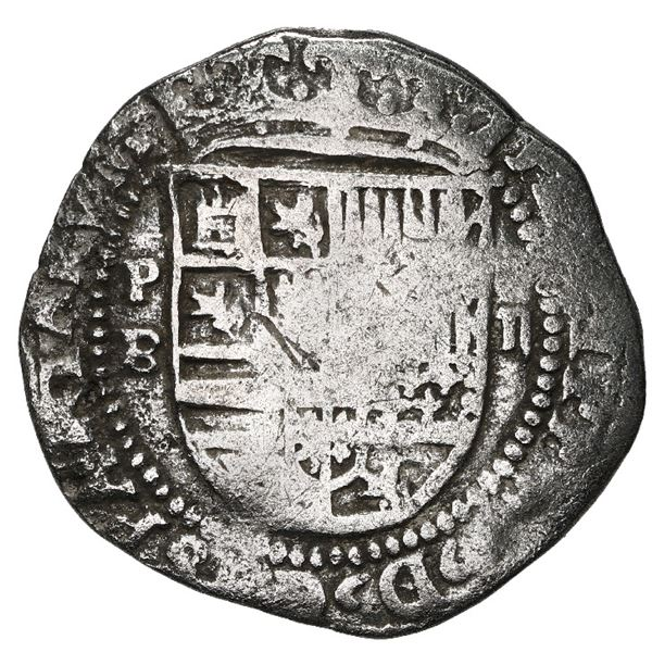 Potosi, Bolivia, cob 2 reales, Philip II, assayer B (2nd period), Grade 3.