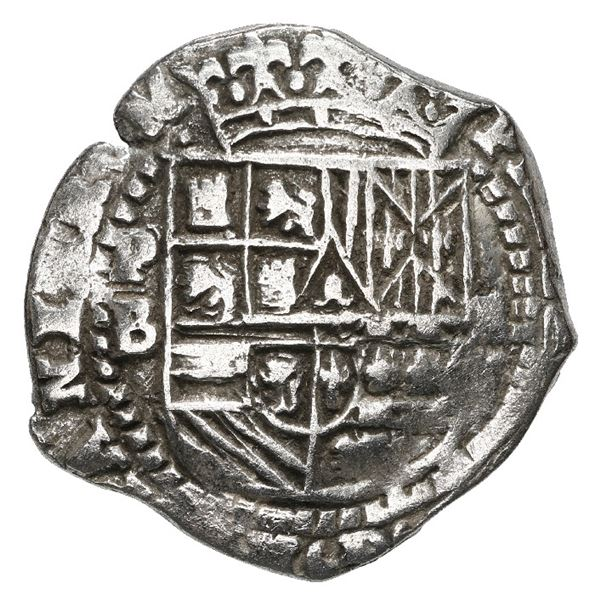 Potosi, Bolivia, cob 2 reales, Philip II, assayer B (3rd period), Grade 1.