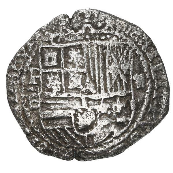 Potosi, Bolivia, cob 2 reales, Philip III, assayer B (5th period), border of x's on shield side, Gra