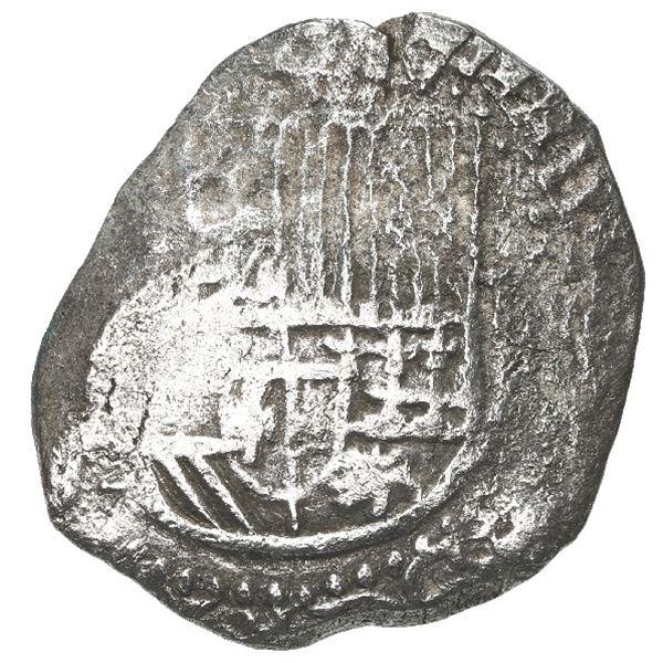 Potosi, Bolivia, cob 2 reales, Philip II, assayer not visible, Grade 2.