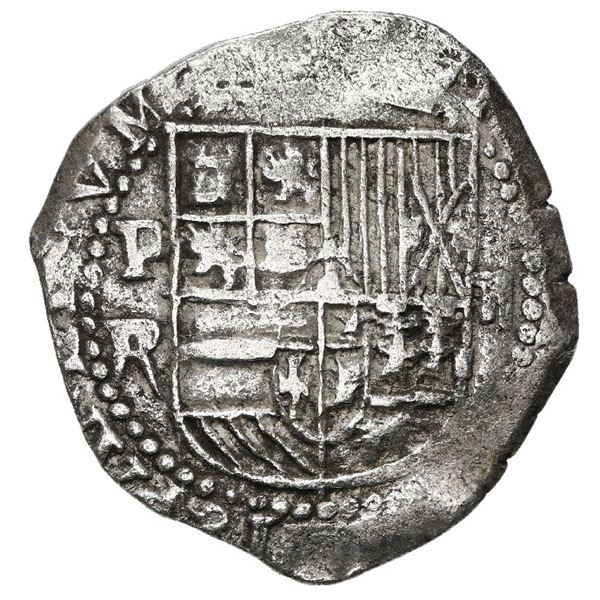 Potosi, Bolivia, cob 2 reales, Philip III, assayer R (straight leg), Grade 1.
