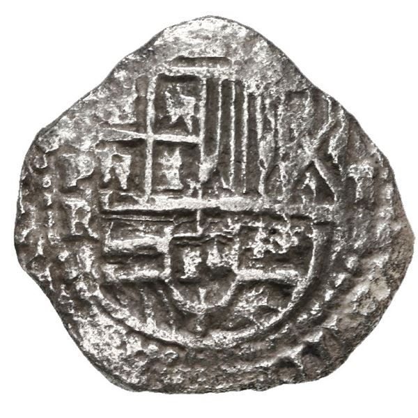 Potosi, Bolivia, cob 2 reales, Philip III, assayer R (small), Grade 1.