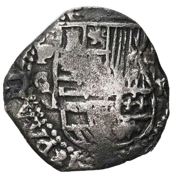 Potosi, Bolivia, cob 2 reales, Philip III, assayer C/Q, Grade 2.