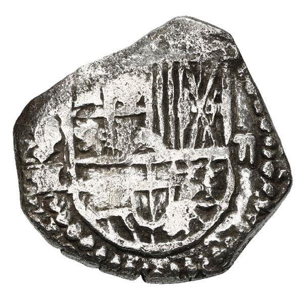 Potosi, Bolivia, cob 2 reales, Philip III, assayer M, quadrants of cross transposed, Grade 1.