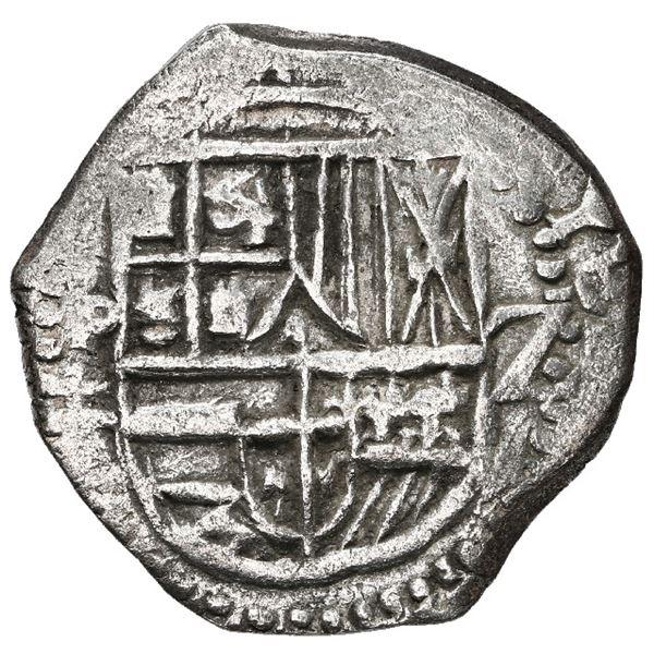 Potosi, Bolivia, cob 2 reales, 1618 T, Grade 1.