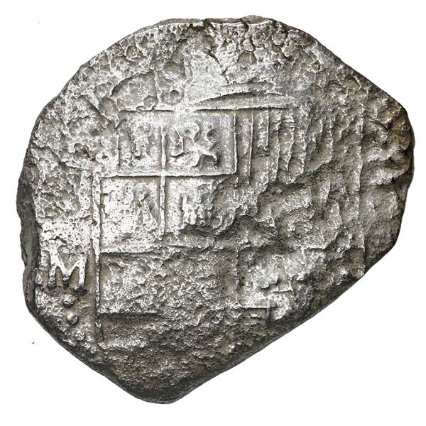 Potosi, Bolivia, cob 8 reales, Philip III, assayer M, Grade 3.