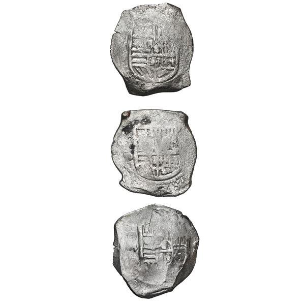 Lot of three Mexico City, Mexico, cob 8 reales, Philip IV, assayer P (where visible).