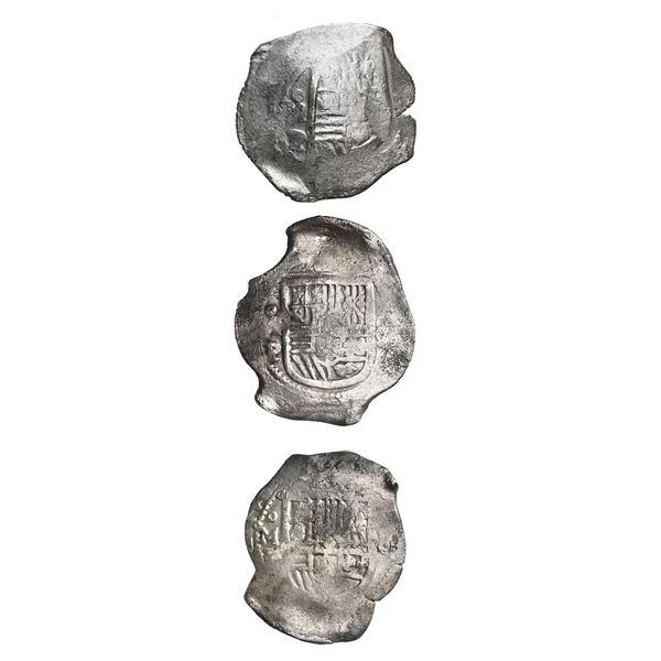 Lot of three Mexico City, Mexico, cob 8 reales, Philip IV, assayer P.