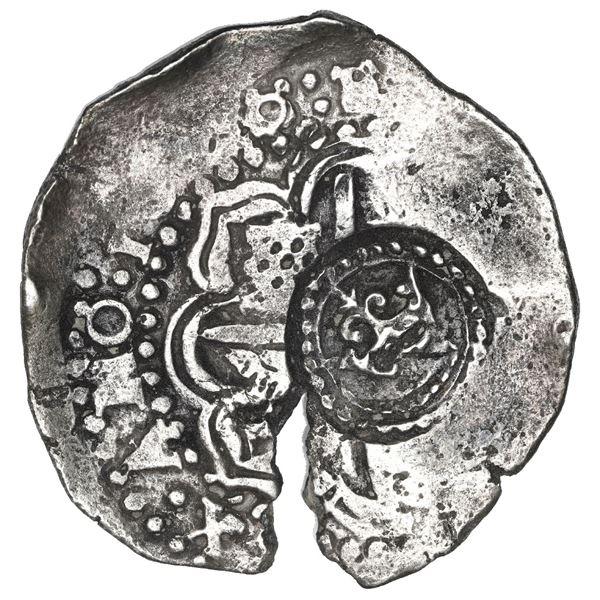 Potosi, Bolivia, cob 8 reales, 1650/49 O, with uncommon crown-alone (Mastalir K1a) countermark on cr