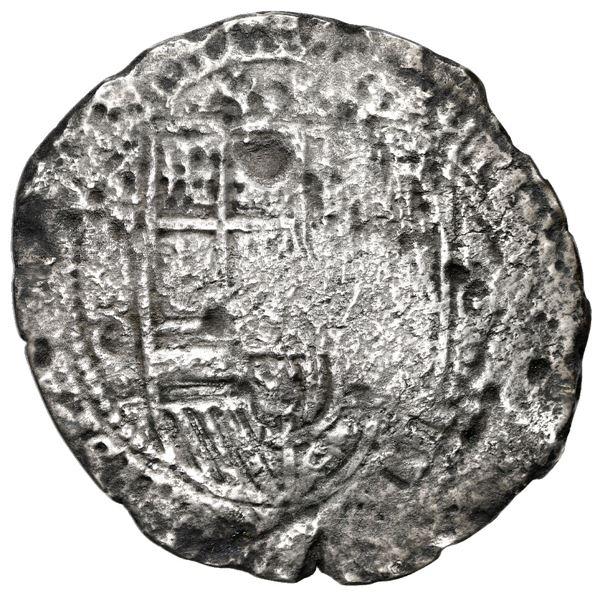 Potosi, Bolivia, cob 8 reales, (1650) O, with crowned-a (Mastalir A1c) countermark on cross, rare, M