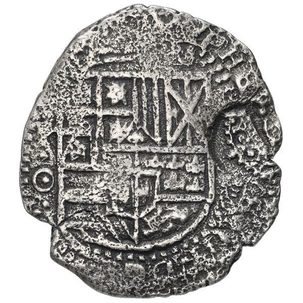 Potosi, Bolivia, cob 8 reales, 1650 O, with crowned-F (Mastalir Fa1) countermark on shield, rare, Ma