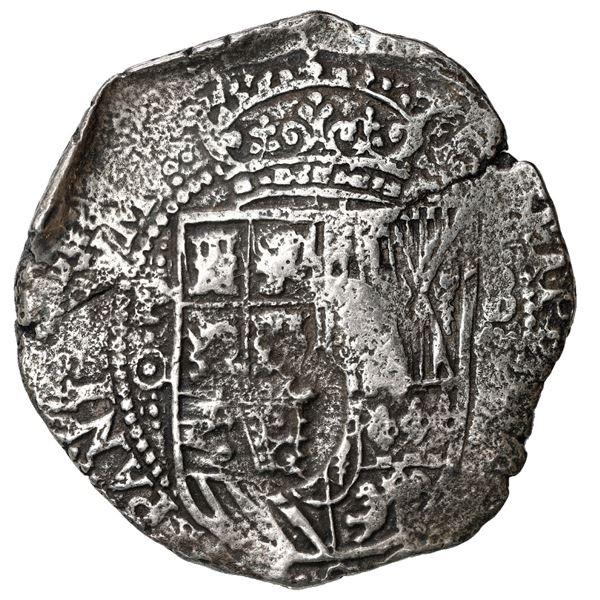 Potosi, Bolivia, cob 8 reales, 1650 O, modern 5, with crowned-F (Mastalir Fa1) countermark on shield