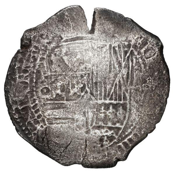 Potosi, Bolivia, cob 8 reales, 1650 O, with crowned-F (Mastalir Fa2-x) countermark on cross, rare, M