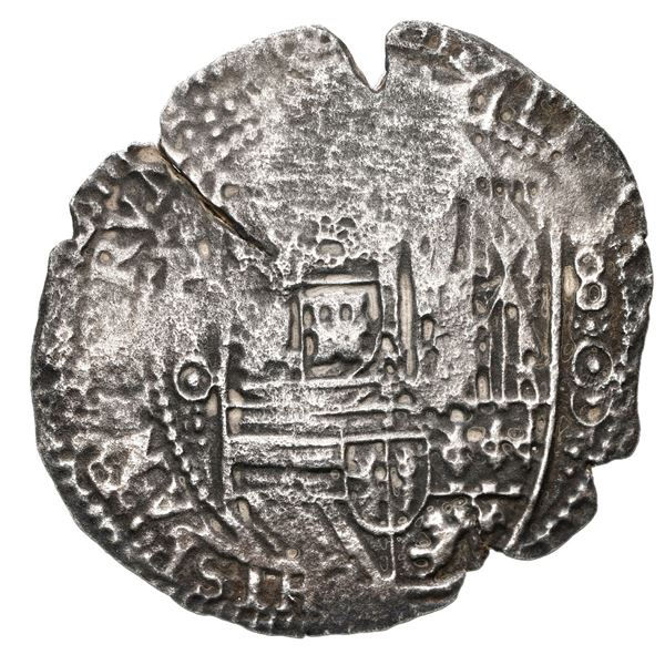Potosi, Bolivia, cob 8 reales, 1650 O, with crowned-L (Mastalir Laa) countermark on cross, Mastalir