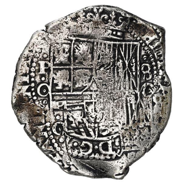 Potosi, Bolivia, cob 8 reales, (1650) O, with crowned-L (Mastalir Lac) countermark on cross, Mastali