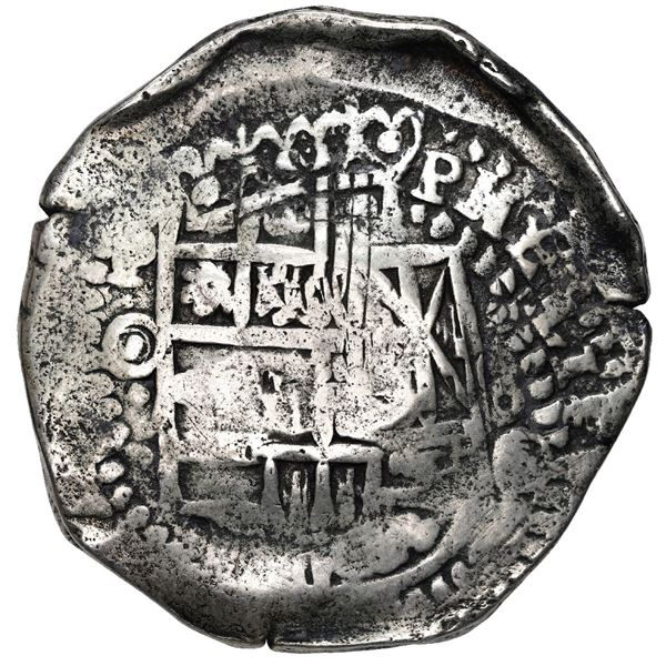 Potosi, Bolivia, cob 8 reales, (1650) O, with crowned-L countermark on cross.