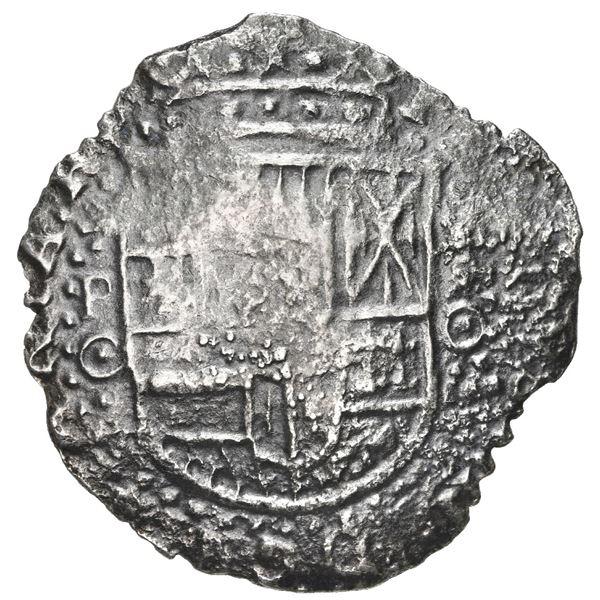 Potosi, Bolivia, cob 8 reales, 1650 O, with crowned-backwards L (Mastalir L2cc) countermark on cross