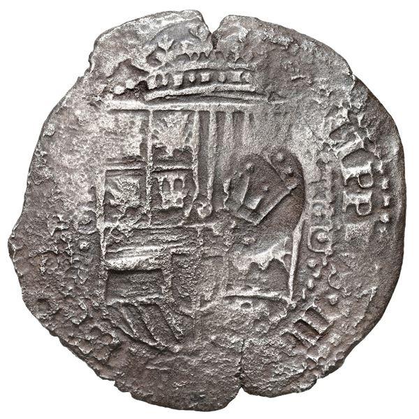 Potosi, Bolivia, cob 8 reales, 1650 O, with crowned-PH (Mastalir PHb-ao) countermark on shield, rare