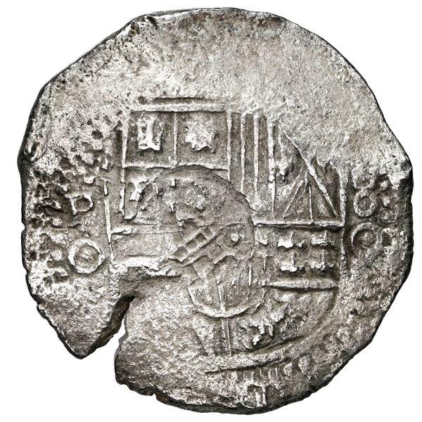 Potosi, Bolivia, cob 8 reales, 1650 O, with crowned-PH (Mastalir PHca-ao) countermark on shield, rar