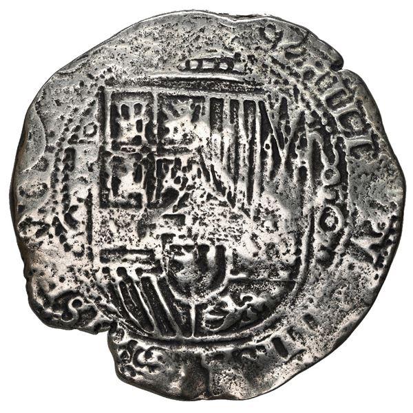 Potosi, Bolivia, cob 8 reales, 1650 O, with uncommon crown-alone (Mastalir K7) countermark on cross,