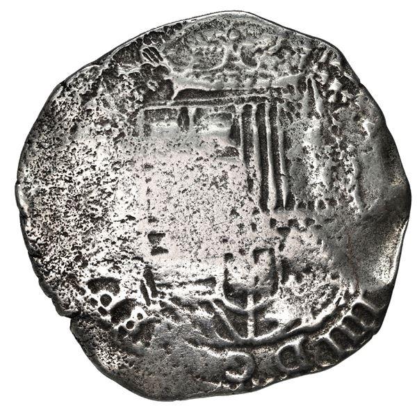 Potosi, Bolivia, cob 8 reales, (1650) O, with uncommon crown-alone (Mastalir K8) countermark on cros
